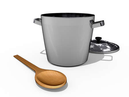 A cooking Pot and a wooden spoon on a white background.