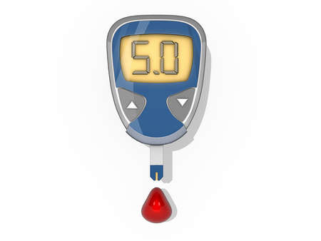 Drop of blood tested by a blood sugar monitor on a white background. Stock Photo