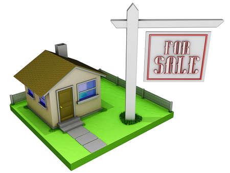 Huis met een te koop bord. Stockfoto