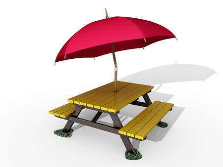 Picnic Table on a white background. Stock Photo