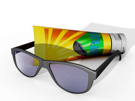 Sunglasses and bottle of Sun Protection Stock fotó