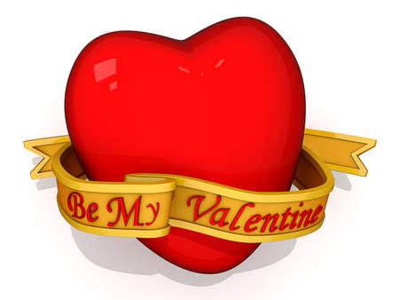 赤いハート リボン前部の上の私のバレンタインのことで。