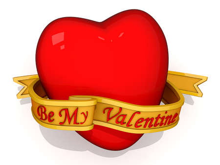 Red Heart with Be My Valentine on a ribbon in front. Stock Photo