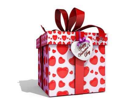 白い背景の上のバレンタインのギフト ボックス。 写真素材