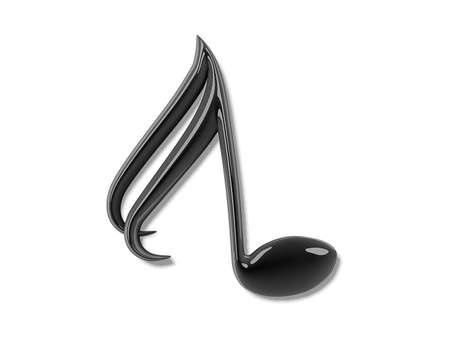 autograph: Drop Cap Black Music Note on a white background.