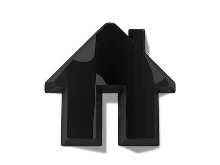 Black House Icon on white background. Stock Photo - 13489223
