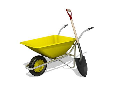 Wheelbarrow and shovel symbol on a white background.