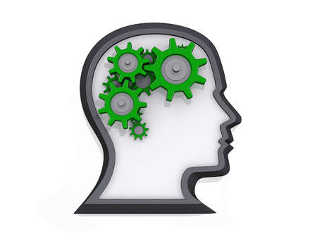 creativity: Profile of a head with gears that look like a brain on a white background.