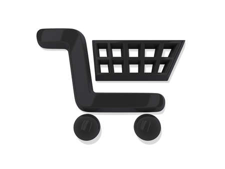 Black Shopping Cart Icon on a White Background. Stock Photo