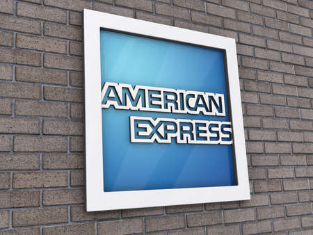 Vancouver, British Columbia, Canada - July 14, 2012 - American Express Logo on a brick wall background. Editorial