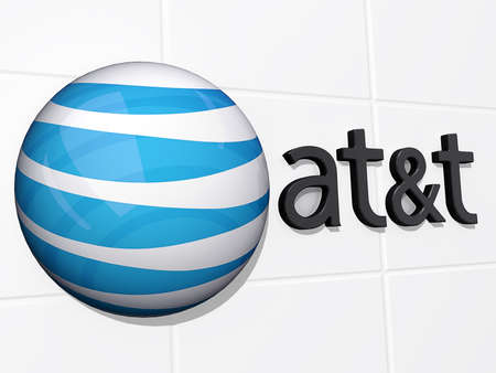 Vancouver, British Columbia, Canada - July 14, 2012 - AT&T Logo on a white tile background. Stock Photo - 14443598