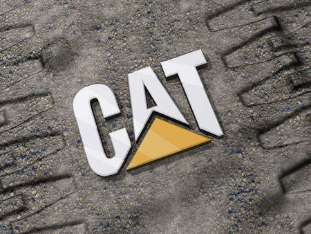 Vancouver, British Columbia, Canada - July 15, 2012 - Caterpillar Logo on the ground between tread marks. Stock Photo - 14466978