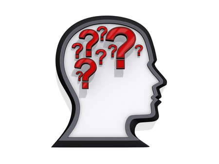 Profile of a head with question marks that look like a brain on a white background. Stock Photo