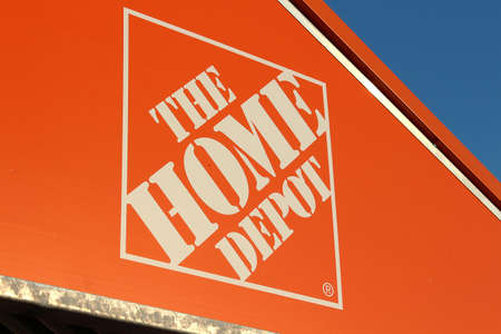 dow: Vancouver, British Columbia, Canada - August 10, 2012 - The Home Depot Logo on the top of a shopping cart Shelter.