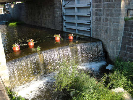 canal lock: The old Rideau Canal Lock in Smiths Falls Ontario