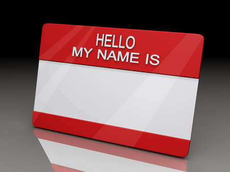 Hello My Name is Sticker on a shiny reflective black background. Stock Photo - 14876096