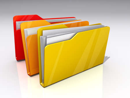 Three File folders on a shiny background. 版權商用圖片
