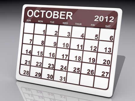 A calendar of October 2012 on a shiny background  Reklamní fotografie