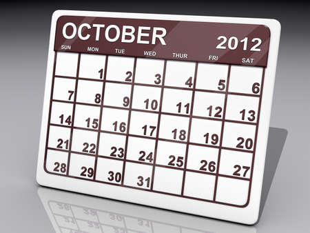 A calendar of October 2012 on a shiny background  Stock Photo