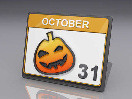 almanac: A Calendar with showing October 31 and a jack o lantern