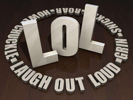 暗い木製のテーブルの上に木製の手紙「笑」です。 写真素材