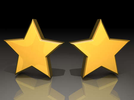 Two gold stars on a shiny background. Stock Photo