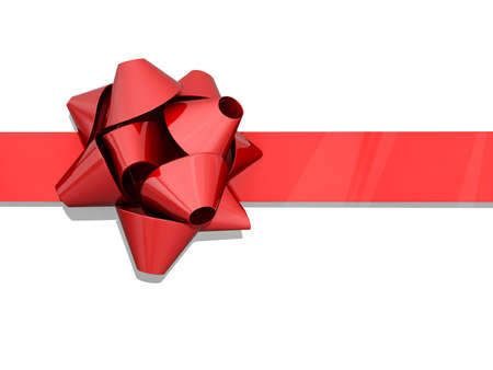 Red bow and ribbon on a white background