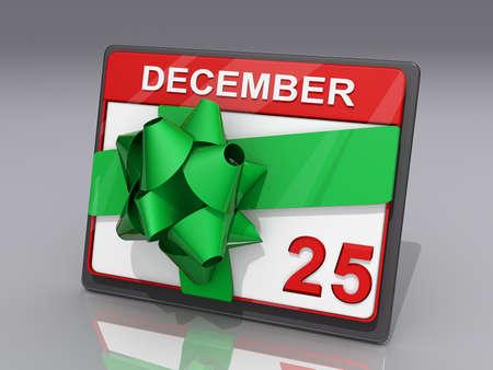 almanac: A Calendar showing December 25 and a Bow