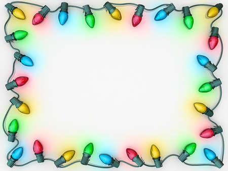 Christmas lights as a boarder to frame copy space