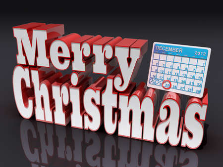 almanac: Text Merry Christmas with a calender of December 2012
