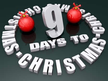 The words 9 Days to Christmas on a shiny green background with two red ornaments.