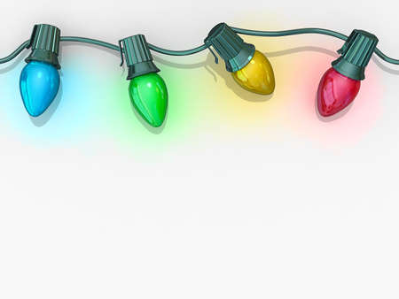 colored lights: Christmas lights strong along the top of the image on a white background. Stock Photo