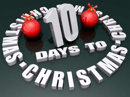 The words 10 Days to Christmas on a shiny green background with two red ornaments.