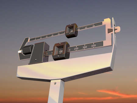 A medical scale against a sunset background  photo