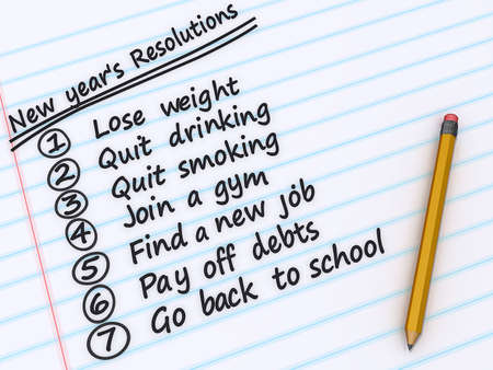 A list of New years resolutions on a sheet of paper
