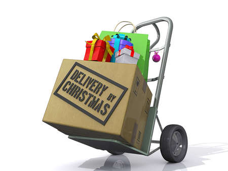 send parcel: A Box and Christmas Gifts on a moving Dolly with the text Delivery by Christmas. Stock Photo