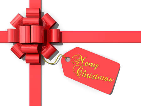Red bow and ribbon with a tag that has the text Merry Christmas  Stock Photo - 16234025