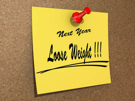 A note pinned to a cork board with the text New Year Loose Weight Stock Photo - 16234026