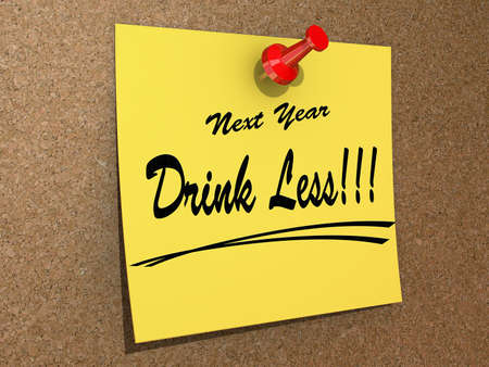 A note pinned to a cork board with the text New Year Drink Less Stock Photo - 16234029