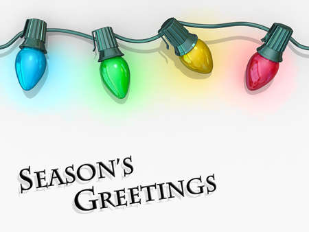 Christmas lights strong along the top of the image with the text Season Stock Photo - 16234027