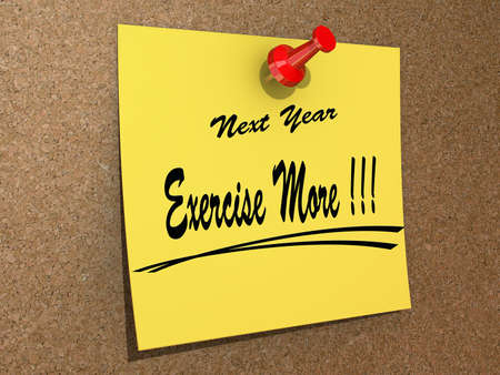 A  note pinned to a cork board with the text New Year Exercise More  Stock Photo