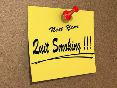 A note pinned to a cork board with the text New Year Quit Smoking  Stock Photo - 16234032