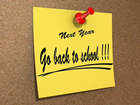 A note pinned to a cork board with the text Go back to school  Stock Photo - 16234036