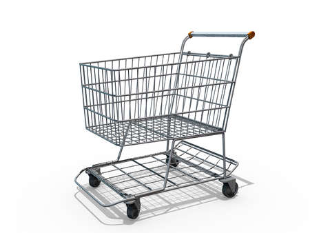 A Grocery shopping cart on a white background. Stock Photo - 16427980