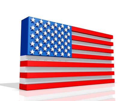 United States of America Flag on a shiny white background  Stock Photo - 16427981