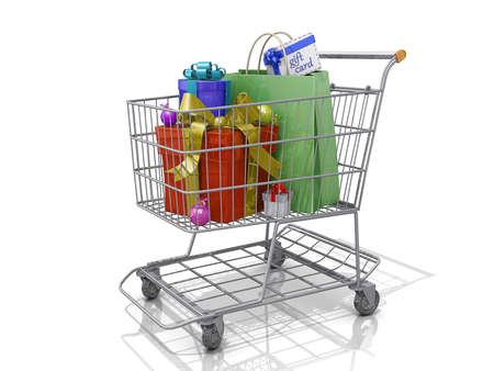 A Grocery shopping cart with Christmas gift boxes on a white background. Stock Photo - 16485308