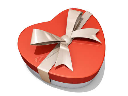 A heart shaped box with a bow. Stock Photo - 16559518