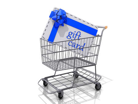 A Grocery shopping cart with a Gift Card on a white background. Stock Photo - 16559524