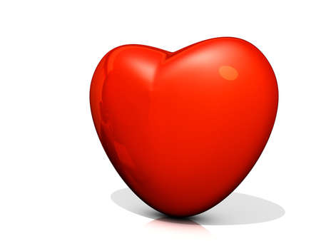 Red Heart icon on a shiny white background. Stock Photo - 16587686