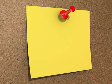 Blank Copy Space Yellow note pinned to a cork board. Stock Photo - 16607698